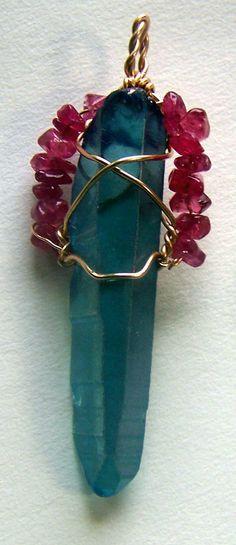 Aqua Aura Crystal wire wrap necklace pendant with by mandalarain, $35.00