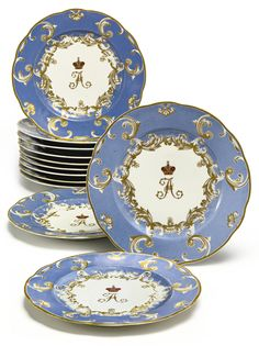 A set of twelve Russian porcelain plates from the Grand Duke Alexander Nikolaevich service, Imperial Porcelain Manufactory, St. Petersburg, Period of Nicholas I (1825-1855) | lot | Sotheby's