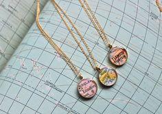 DLK Designs, LLC - Gold Plated Vintage Map Necklace. You Select Journey.