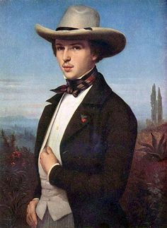 Ludwig des Coudres (German, Portrait of Oswald Achenbach, mid century. Oil on canvas, Benno von Achenbach Collection, Berlin. Hans Thoma, Farm Clothes, His Dark Materials, Italy Tours, Ludwig, Grand Tour, Gentleman Style, Victorian Era, Fashion History