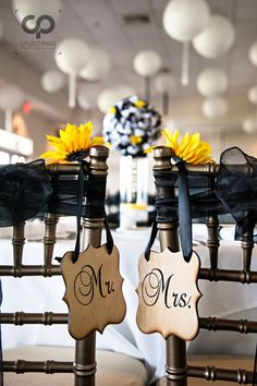 sweet heart table with mr. and mrs. signs