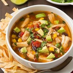 """"""". This is up on my new page @RecipesForEveryday❤️ . Slow Cooker Chicken Tortilla Soup . By @CookingClassy .  2 1/2 (14.5 oz) cans low-sodium chicken broth…"""""""