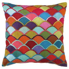 Add a playful splash of color to your sofa or bed with this cotton pillow, showcasing rows of embroidered fans in a vibrant palette.