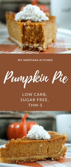 Low Carb Pumpkin Pie (Sugar Free, THM-S) pumpkinpie pumpkin lowcarb sugarfree thm glutenfree Sugar Free Pumpkin Pie, Low Carb Pumpkin Pie, Pumpkin Pie Recipes, Low Carb Recipes, Pumpkin Ideas, Sugar Free Desserts, Sugar Free Recipes, Köstliche Desserts, Delicious Desserts