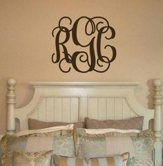 This chic vinyl monogram looks great over the bed headboard, fireplace or even the glass front door! Endless options for this decal! Smaller sizes can also be applied to car windows, cups, mugs, stationary, and more