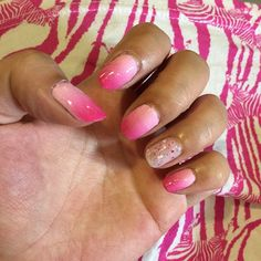 """Haphazardly sponged #pink #gradient #manicure another classic example of """"good from far, far from good""""… No harm done since it won't last past a week anyway.  But look how well it matches my dress!  Gradient made up of #OPI""""Mod About You"""", #Essence """"free hugs"""" and """"ultimate pink"""". Accent nail is OPI """"The Power Of Pink"""". Both OPI shades are from the Pink of Hearts 2014 duo for breast cancer awareness. ☺️"""