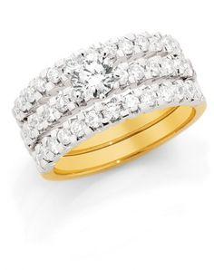 18ct 2 Tone Gold Claw Set Diamond Engagement Ring with Shoulder Diamonds, Matching Wedding Bands.  (Loloma Showcase Jewellers -  www.loloma.com.au)