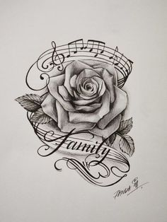 Image result for rose and music tattoo Music Tattoo Designs, Music Tattoos, Body Art Tattoos, New Tattoos, Sleeve Tattoos, Tattoo Ribs, Skull Tattoos, Music Related Tattoos, Music Tattoo Sleeves
