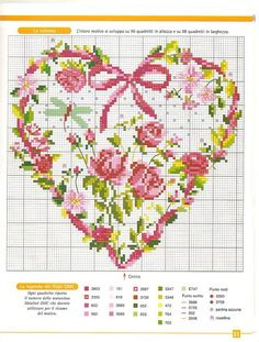 free cross stitch chart Heart of Rose Garden Cross Stitch Pictures, Cross Stitch Heart, Cross Stitch Flowers, Counted Cross Stitch Patterns, Cross Stitch Designs, Cross Stitch Embroidery, Embroidery Patterns, Knitting Charts, Cross Stitching