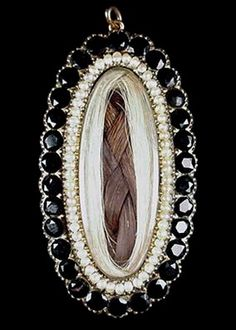 TOGETHER FOREVER ( Victorian Mourning Jewelry Pendant ): Two colors of hair - a…