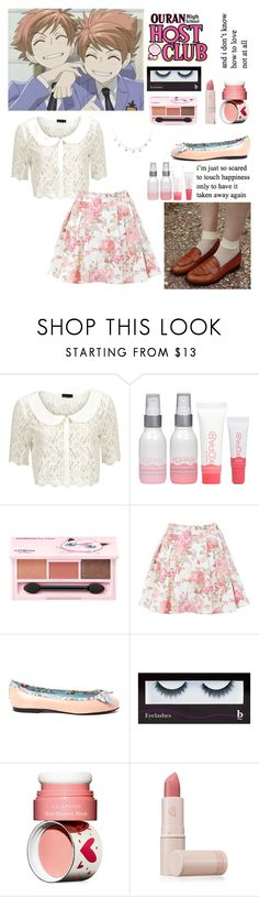 """my rose-colored boy."" by chaiteahyung ❤ liked on Polyvore featuring Vero Moda, Kopari, TONYMOLY, Miss Selfridge, French Sole FS/NY, BBrowBar, Clarins and Lipstick Queen"