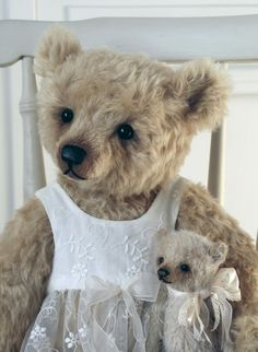 Cecily and her Teddy a 19 inch Humble-Crumble Bear