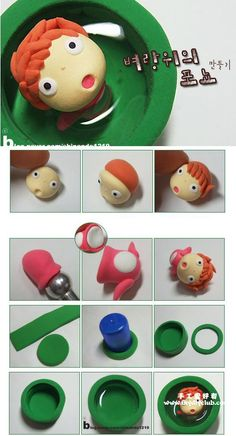 Ponyo sur la falaise, modelage en pâte fimo - Tuto Ponyo polymer clay