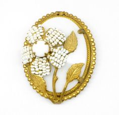 Miriam Haskell White Floral Brooch