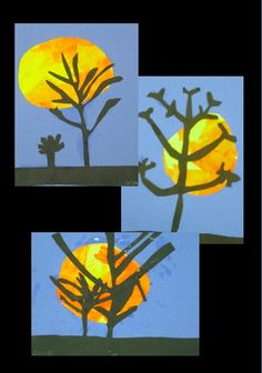 Harvest Moon Tree Silhouette - color, line, and composition - perfect for any time in October, and to supplement units on Fall or seasons.