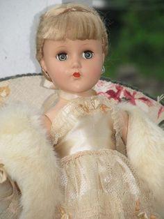 "Elegant Vintage 1950s 14"" Arranbee Doll, Pink Gown & Fur Stole, Blonde Floss Wig #ArranbeeRB"