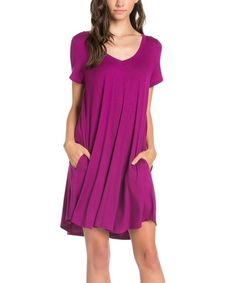 Look what I found on #zulily! Magenta Pocket Swing Dress #zulilyfinds