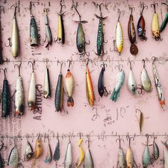 I've gotta make something like this for my husband with all of the old, old lures he still has that belonged to his dad