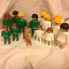 Vintage Playmobil Lot of 13 Figures Green White Adults and Kids Geobra #PLAYMOBIL