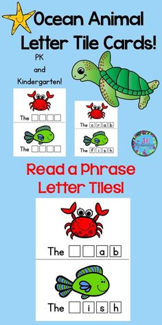 """Preschool Ocean Animals and Kindergarten Ocean Animals Letter Tile Cards!  Have fun making ocean animal names! Included are eleven ocean animal letter tile cards.  crab, orca, octopus, jellyfish, squid, krill, fish, shark, seahorse,  sea turtle, and starfish  Use tiles that you have purchased or made for this literacy center. Just print on cardstock, cut on solid line and laminate! This activity helps to teach the sight word """"the"""" as well as ocean animal names. There are three options for"""