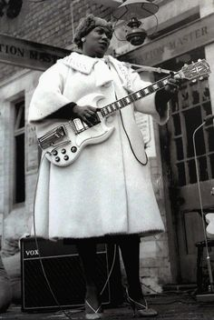 "Sister Rosetta Tharpe – gospel music's first superstar, the godmother of rock and roll, ""the original soul sister,"" reconstructionist – waiting for The Blues Train in Chorlton, 1963."