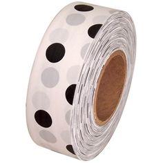 "White and Black Polka Dot Flagging Tape 1-3/16"" x 300' Non-Adhesive"