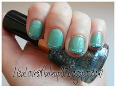 Green Glitter French Tips | LisaLovesMakeup87
