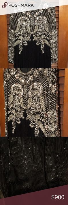 Custom Made Vintage Beaded XL view measurements This is a Vintage Custom Made Gown from a high end boutique made for the mother of the groom.  It is all silk and beaded from top to bottom in black, white and silver bugle beads, small beads, flat sequins and various white pearls.  It is a stunning gown which was worn one time, therefore in very good condition. Please view photos for most approximate measurements.  The Gown also has a slit at the back and is fully lined.  Length is approx 56…
