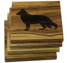 **Set of Four** 4 x 4 inch handmade square coaster made of solid acacia wood. Engraved dog coaster design. Coasters come in a set of 4.