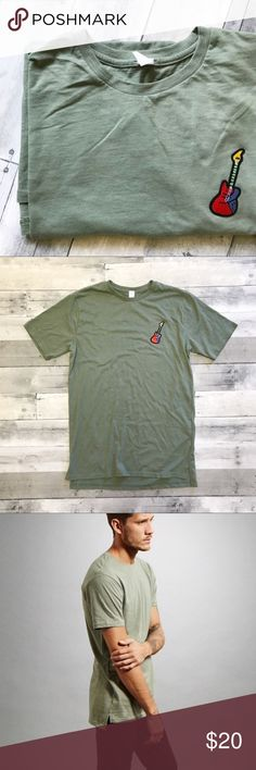 Men's Guitar Applique Tee Is your man a musician? Maybe a little bit of a hipster? What better way to nod to his talents and uniqueness than this one of a kind tee!  Relaxed fit with a slight shirt-tail hem; light sage / olive green color with electric guitar (or bass) appliqué stitched to the left side of the chest!  !! The Holidays are Coming !! jesmae Shirts Tees - Short Sleeve