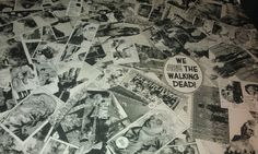 Close up of decoupage table using The Walking Dead comic book and Ikea Fusion table.