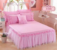 Lit double patchwork bleu de luxe matelassé drap housse couvre-lit Volants Rose Crème Polka