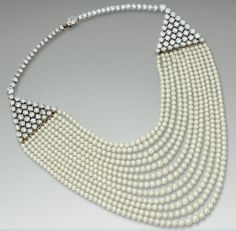 Diamond and Pearl Necklace  by Cartier, 1953