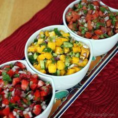 Pico de Gallo. 3 kinds. Classic Tomato. Mango Cucumber. Strawberry Red Pepper Jalapeno.