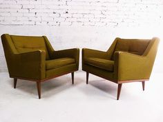 Mid Century Modern Milo Baughman Style Green Lounge Chairs Wood Base #2