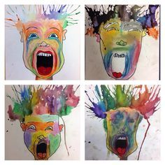 Monster Mama Screaming Portraits I found this great project at the end of last year and have almost waited too late to do it this year. It will probably be our final project for the year and the kids are loving it. The original le… 6th Grade Art, School Art Projects, Art Lessons Elementary, Art Lesson Plans, Art Classroom, Halloween Art, Art Plastique, Art Activities, Teaching Art