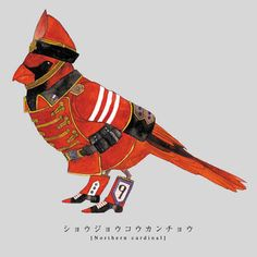 birds dressed in military uniforms by Japanese artist Sato