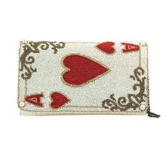 Mary Frances Ace It White Card Hearts Red Alice Spring 16 Beaded Bag Handbag NEW #MaryFrances #EveningBag