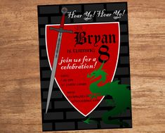 Sword and Dragon, Medeival, Renaissance, Festival, Party, Birthday, Event, Custom Printable Invitation by SBVintageAndDesign on Etsy
