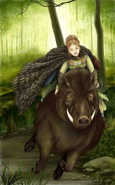 Freya prayer card by Grace Dawn Palmer. Also a perfect Arduinna, Goddess of the Ardennes who was often depicted riding a boar.