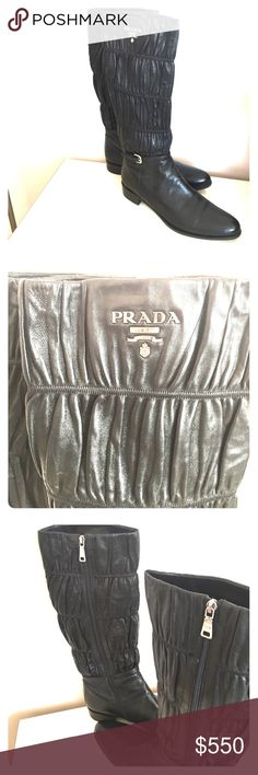 Authentic Prada leather boots Authentic Prada leather boots. Purchased from Neiman Marcus. Leather exterior and interior. Prada logo on outside of both boots. Silver hardware. Worn a few times, so soles are a bit dirty. Boots themselves are in amazing shape. Beautiful pair of boots!! Great deal! Prada Shoes Winter & Rain Boots