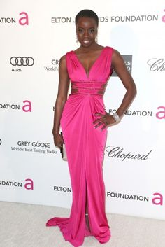Danai Gurira- Oscar parties 2013.  Mischone from The Walking Dead. She cleans up nice.