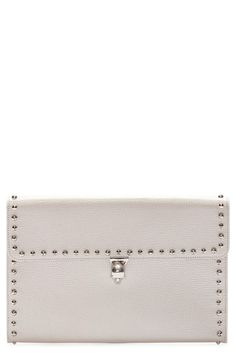ALEXANDER MCQUEEN Studded Leather Envelope Clutch. #alexandermcqueen #bags #leather #clutch #hand bags