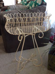 VINTAGE LARGE WROUGHT IRON SCROLLED PLANT STAND