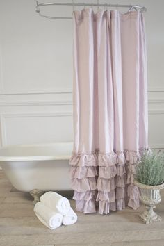 Sofia Pink Linen Ruffle Shower Curtain By FullBloomCottage On Etsy, $139.00