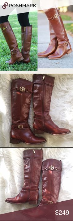 "Tory Burch Almond Calista Riding Boots EUC 6.5 Great condition. Very gently worn. Minor scuffing around the heel, and some stitching loose on one of the belts but it's still attached. Signature hardware and logo emblem buckle. Smooth zipper. Size 6.5. 1 1/8"" heel. 15.5"" shaft. 13"" calf at top. Tory Burch Shoes"