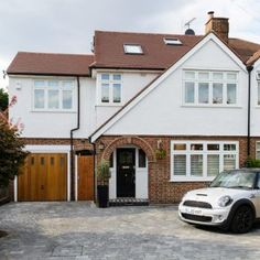 I haven't noticed doing this previously. Home Design Ideas Renovation Facade, 1930s House Renovation, Home Design, Design Ideas, 1930s Semi Detached House, Garage Extension, Side Extension, Extension Ideas, Rendered Houses