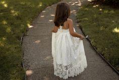Girls Maxi Dress Lace Flower Girl Dress by FlowerGirlsCouture