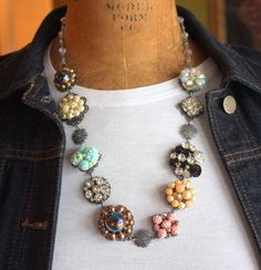 Unique Necklace Made from Vintage Costume Jewelry