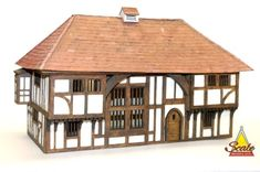 48th Scale Model Kit - Wealden Hall House - This is a miniature Dolls House Kit of a traditional medieval 14th/15th century precursor to the modern home.  By R.Young ScaleModelDIY.com
